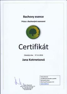 Certifikát: Bachovy esence